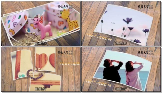 木纹桌面上一张张的照片轻快会声会影模板