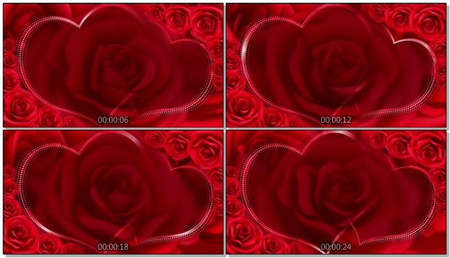 红色双心玫瑰花浪漫心型唯美婚礼背景视频模板