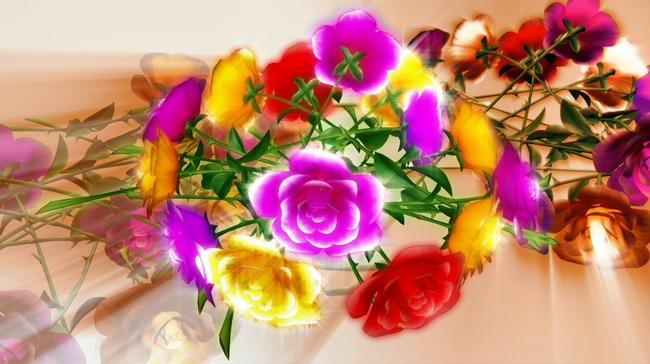 多彩花卉背景视频素材
