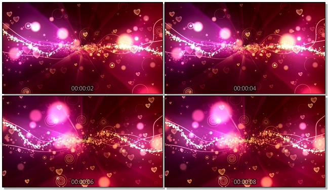粉红爱心唯美浪漫背景视频模板