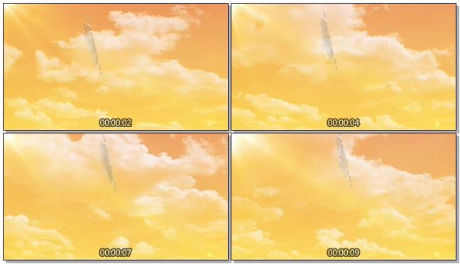 黄昏天空飘扬旗帜背景视频素材