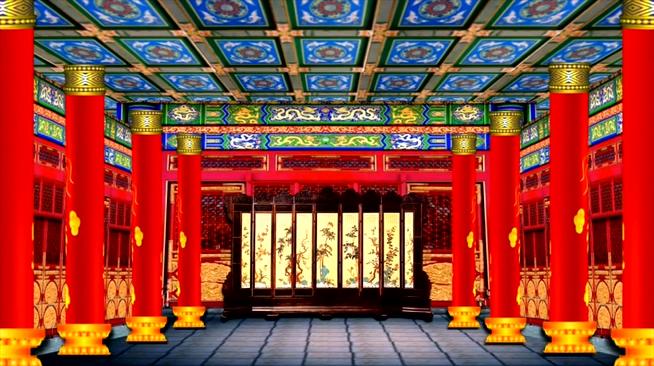 中式皇家柱子屏风背景视频
