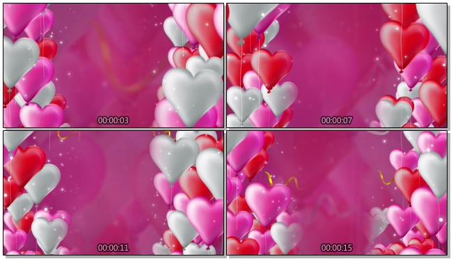 多彩气球红玫瑰浪漫心型唯美婚礼背景视频模板