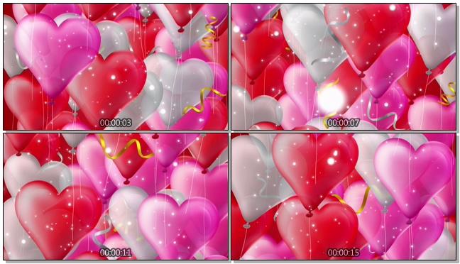 喜庆气球浪漫心型唯美婚礼背景视频模板