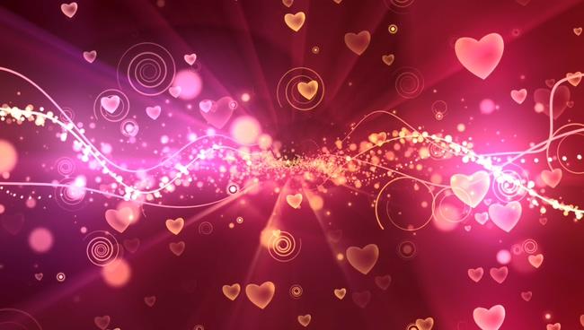 粉红爱心唯美浪漫背景视频素材
