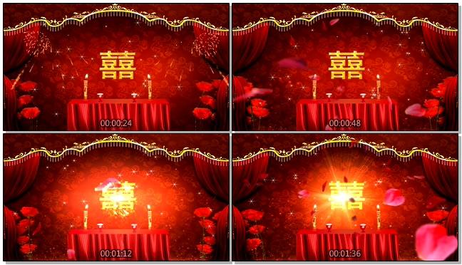 中式婚庆婚礼拜堂拜天地背景视频素材
