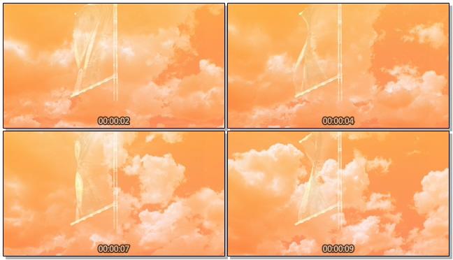 黄昏天空飘扬虚幻旗帜背景视频素材