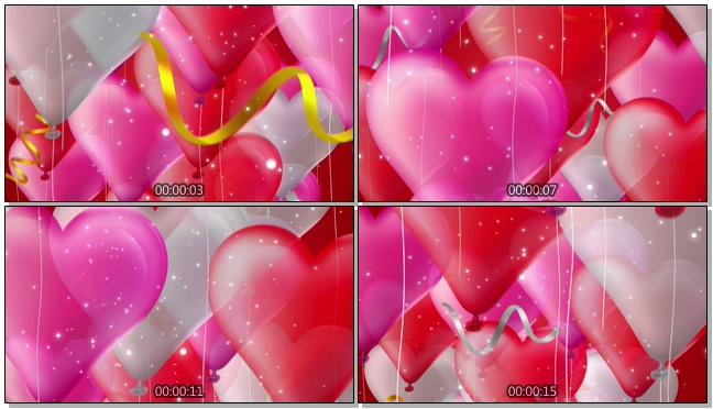 喜庆气球红玫瑰浪漫心型唯美婚礼背景视频模板