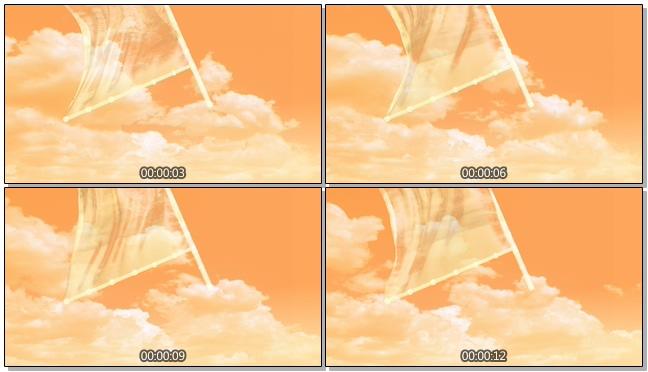 黄昏动态旗帜背景视频素材