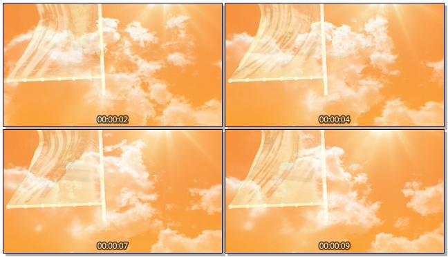 黄昏天空阳光飘扬大旗帜背景视频素材