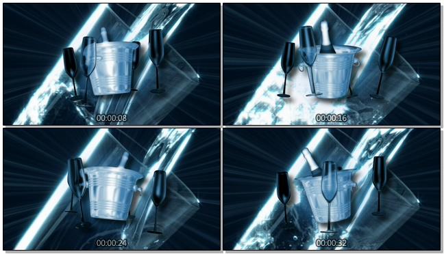 深蓝色冰桶酒杯背景视频素材