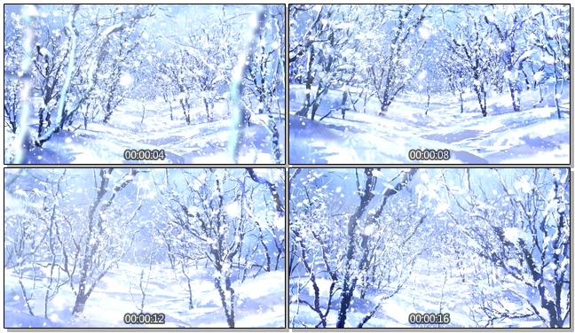 蓝色风雪森林唯美浪漫背景视频素材