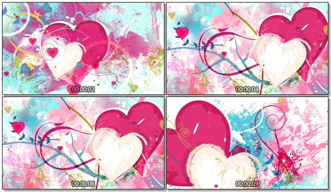 多彩手绘墨水不规则爱心唯美浪漫背景视频素材