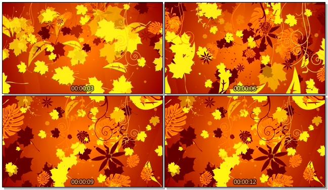 金黄色落叶拓印唯美浪漫背景视频素材