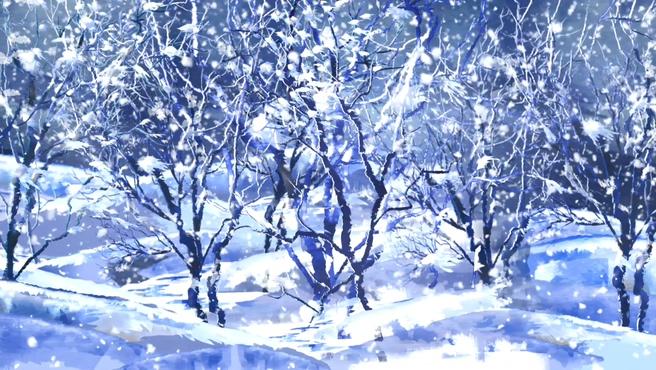 蓝色雪景树木唯美浪漫背景视频素材
