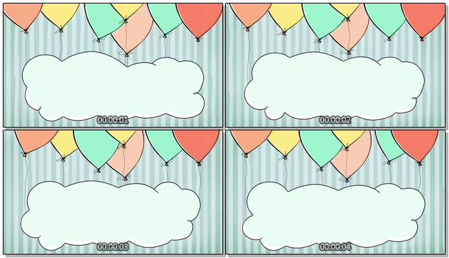 手绘蓝色条纹气球留言板背景视频素材