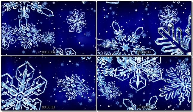 蓝色镂空雪花唯美浪漫背景视频素材