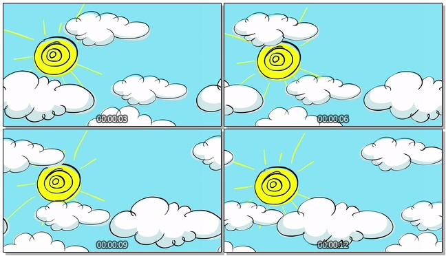 手绘天空白云太阳背景视频素材