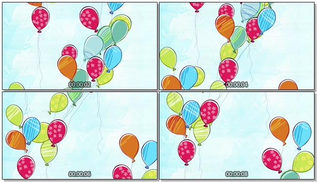 多彩手绘气球花纹背景视频素材