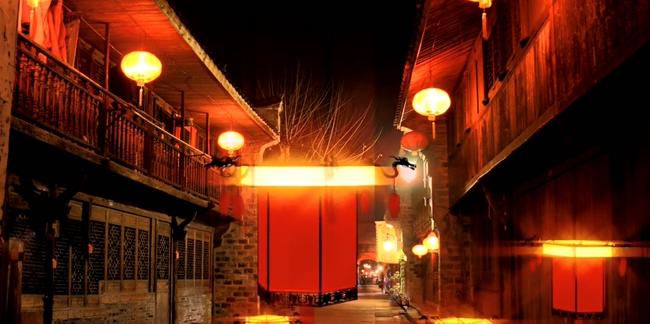 暗色街道元宵灯笼背景视频素材