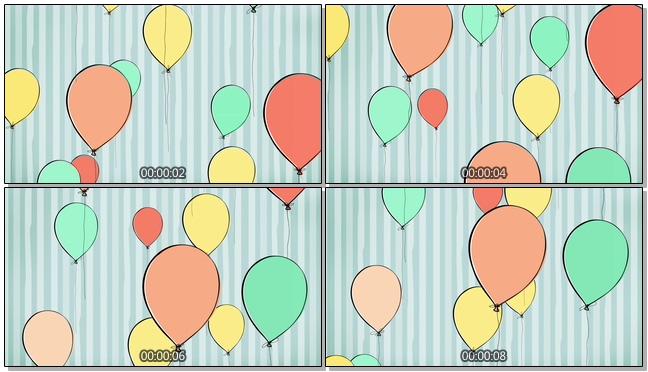 手绘蓝色条纹气球背景视频素材