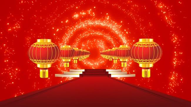 喜庆灯笼红地毯节日舞台背景视频素材