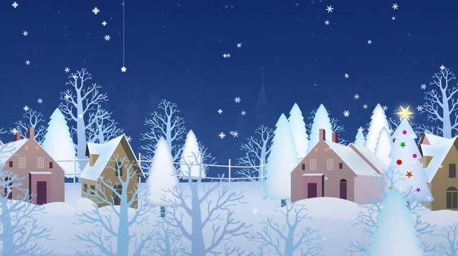 蓝色手绘雪景圣诞节动态背景视频素材