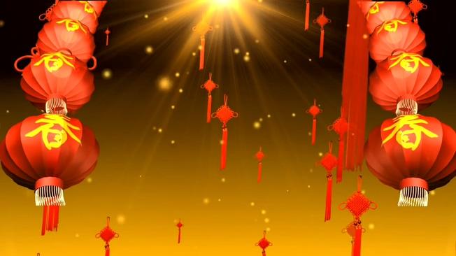 红色灯笼中国结背景视频素材