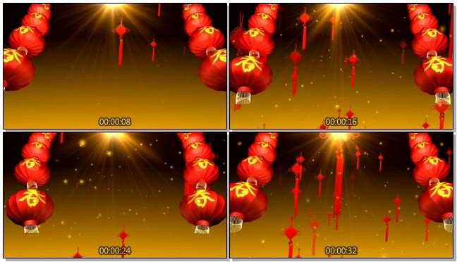红色立体灯笼中国结背景视频素材