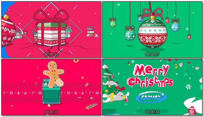 创意欢快节奏圣诞快乐礼物音乐背景视频模板