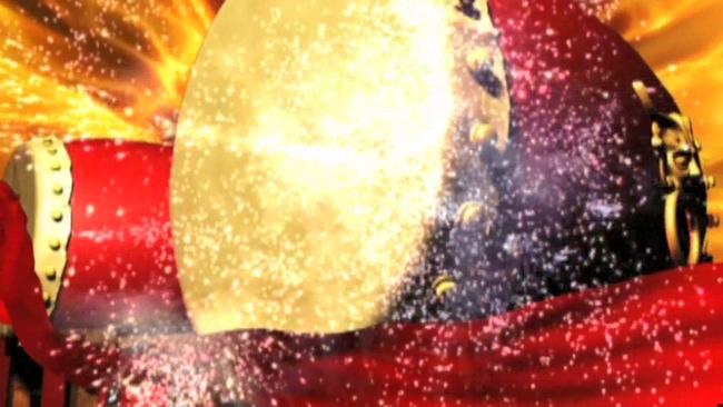 喜庆中国风鼓舞中国打大鼓背景视频素材