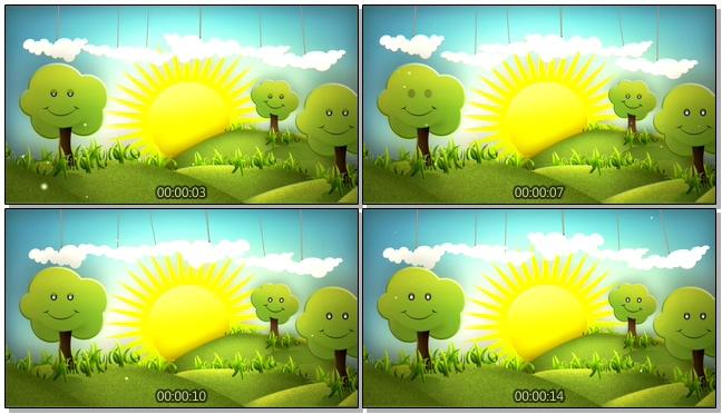 卡通太阳树木背景视频素材