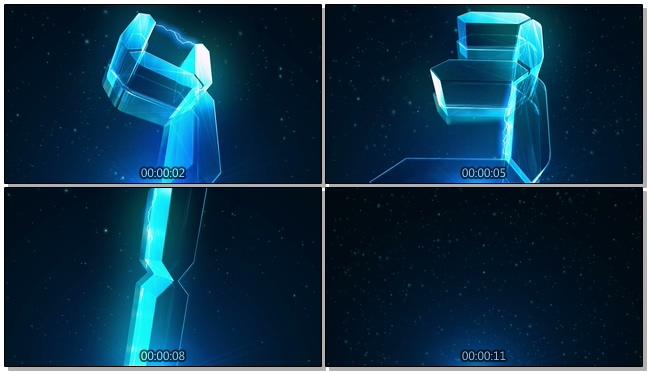 震撼年会晚会开场电流水晶5秒倒计时背景视频素材