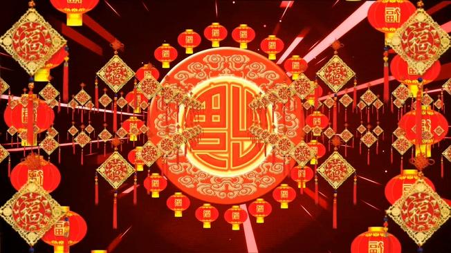 红色福字元旦春节素材背景视频素材