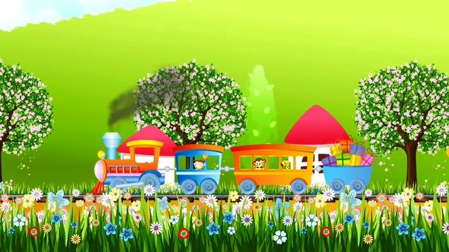 小火车猴子长颈鹿卡通背景视频素材