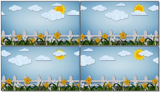 简洁贴布太阳栅栏背景视频素材