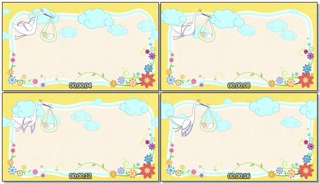 手绘简洁仙鹤小孩背景视频素材
