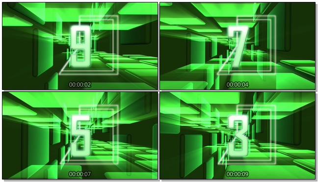 绿色立体魔方倒计时背景视频素材
