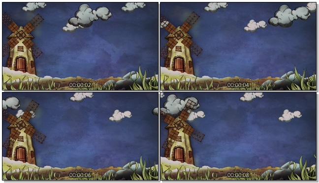 蓝色夜晚手绘风车背景视频素材