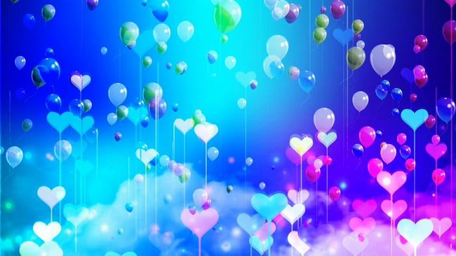 蓝紫色炫彩梦幻气球背景视频素材