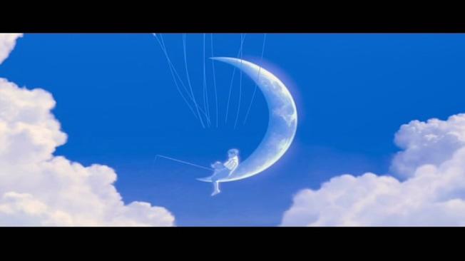 蓝色天空动画片婚庆开场片头背景视频素材