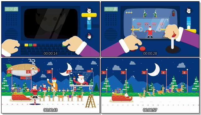 卡通圣诞倒计时音乐背景视频素材