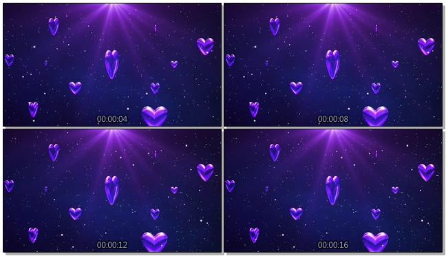 紫色心形爱心下落背景视频素材