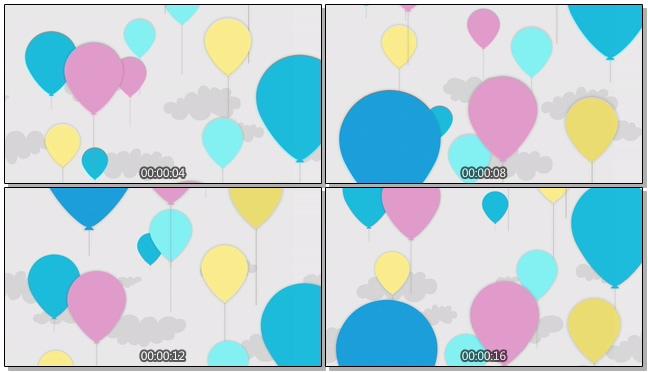 扁平简洁手绘动态气球背景视频素材