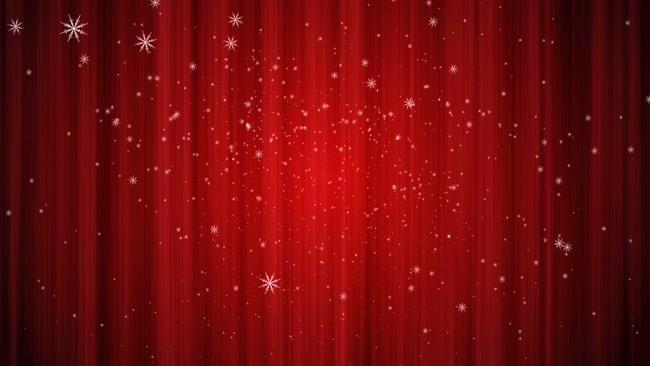 雪花飘落红色幕布圣诞素材模板
