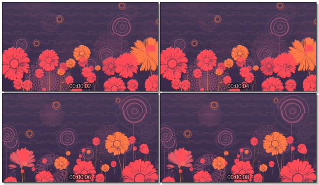 深紫色拓印手绘花卉唯美浪漫背景视频素材