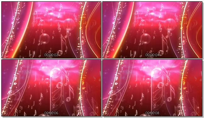 紫红色动态音符背景视频素材