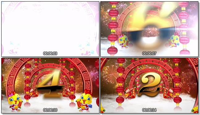 喜庆中国风新年倒计时背景视频模板