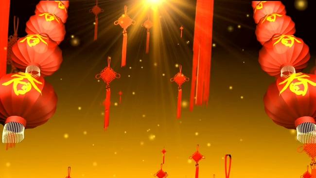 春节红色金黄色喜庆中国结背景视频素材