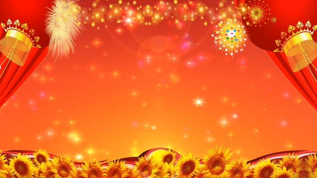 红色向日葵丰收时代背景视频素材